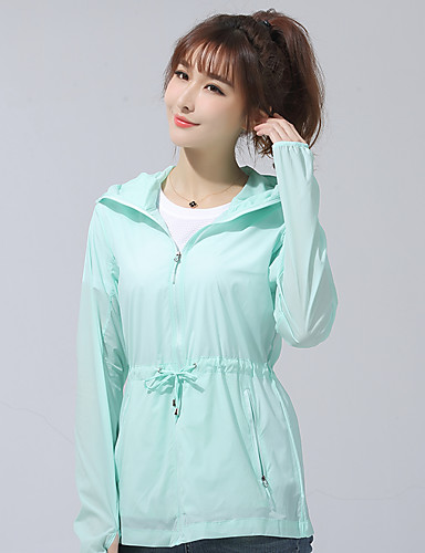 cheap Outdoor Clothing-Women's Solid Color Hiking Jacket Outdoor Autumn / Fall Spring Waterproof Breathable Stretchy Comfortable Top Single Slider Fishing Camping / Hiking / Caving Traveling Light Blue / Light Green / Pink