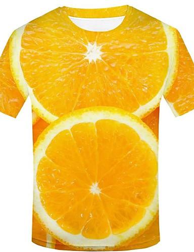 billige T-shirts og undertrøjer til herrer-Herre - 3D / Grafisk / Frugt Trykt mønster Gade / overdrevet T-shirt Gul XXL