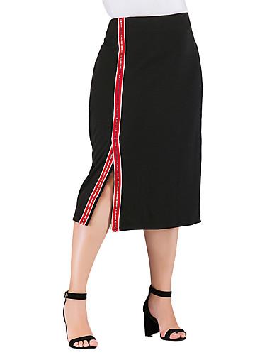 abordables Jupes-Femme Grandes Tailles Basique Chic de Rue Crochet / Moulante Jupes - Couleur Pleine Rayé Bloc de Couleur Paillettes / Fendu / Mosaïque Noir XXXL XXL XXXXL