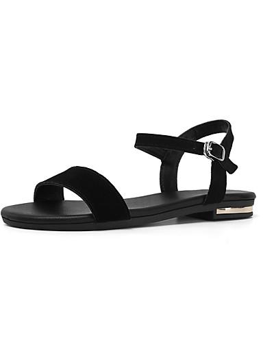 povoljno Ženske sandale-Žene Koža Proljeće ljeto slatko Sandale Ravna potpetica Otvoreno toe Crn / Pink