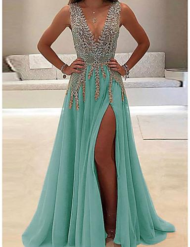 hesapli Kadın Elbiseleri-Kadın's Temel Kılıf Elbise - Solid, Payetler Derin V Maksi