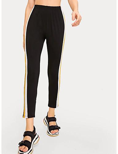 abordables Pantalons Femme-Femme Basique / Chic de Rue Joggings Pantalon - Couleur Pleine Sportif / Mosaïque Taille haute Noir XS S M
