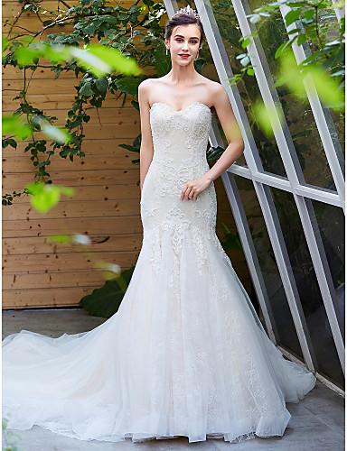 baratos Vestidos de Casamento 2019-Linha A Decote Princesa Cauda Capela Renda / Tule Vestidos de casamento feitos à medida com Miçangas de LAN TING BRIDE®