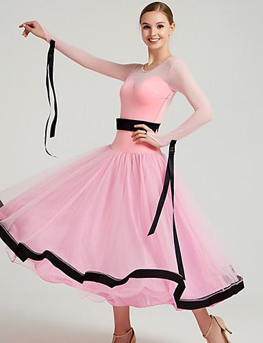 5ad9191694bf Ballroom Dance Dresses Women's Training / Performance Mesh / Tulle /  Pleuche Bow(s) / Split Joint Long Sleeve Dress