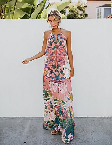 abordables Robes Imprimées-Femme Maxi Courte Robe Rose Claire L XL XXL Sans Manches