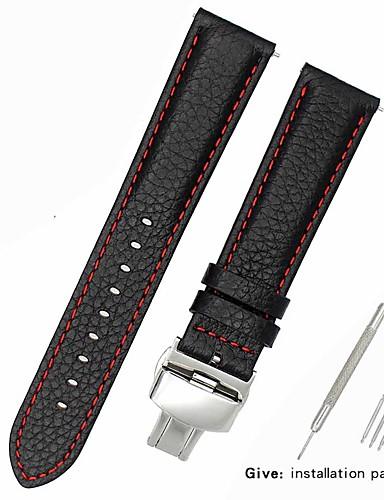Gerçek Deri / Deri / Buzağı Tüyü Watch Band kayış için Siyah 17cm / 6.69 inç / 18cm / 7 İnç / 19cm / 7.48 İnç 1cm / 0.39 İnç / 1.2cm / 0.47 İnç / 1.3cm / 0.5 İnç
