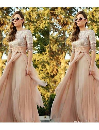 abordables A Moins de 82€-Trapèze Bijoux Longueur Sol Tulle / Pailleté Robe de Demoiselle d'Honneur  avec Paillette par JUDY&JULIA
