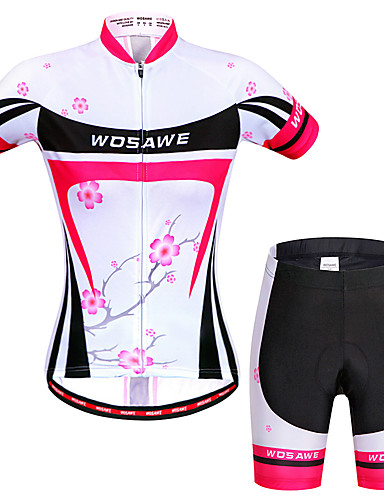 cheap Cycling Clothing-WOSAWE Women's Short Sleeve Cycling Jersey with Shorts Peach Floral Botanical Bike Shorts Jersey Clothing Suit Breathable 3D Pad Quick Dry Anatomic Design Reflective Strips Sports Elastane Floral