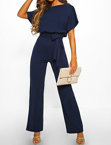 cheap Women's Jumpsuits & Rompers-Women's Beige Navy Blue Yellow Jumpsuit, Solid Colored XL XXL XXXL