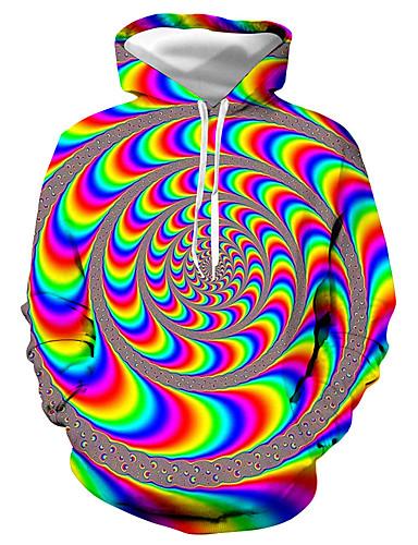 voordelige Herenbovenkleding-Heren Standaard / overdreven Print Heren Sweaters Kleurenblok / 3D / Grafisch Geel