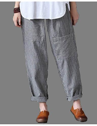 billige Tights til damer-Dame Grunnleggende / Chinoiserie Chinos Bukser - Stripet Svart XXXL XXXXL XXXXXL