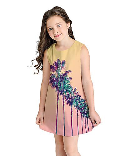 שמלה מעל הברך ללא שרוולים עצים\עלים מתוק / סגנון חמוד בנות ילדים / כותנה