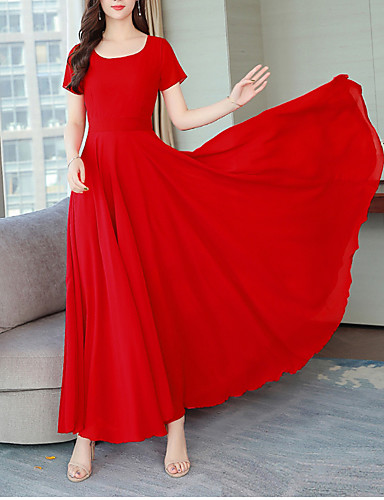 cheap Maxi Dresses-Women's Street chic Elegant Swing Dress - Solid Colored Pleated Fuchsia Wine Lavender XXL XXXL XXXXL