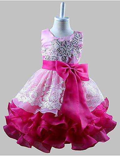 נסיכה באורך  הברך שמלה לנערת הפרחים  - כותנה / פולי ללא שרוולים עם תכשיטים עם פפיון(ים) / פרטים מפנינה / Paillette על ידי LAN TING Express