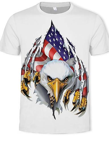 voordelige Heren T-shirts & tanktops-Heren Standaard Print T-shirt dier Ronde hals Wit / Korte mouw