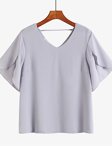 povoljno Majica-Veći konfekcijski brojevi Majica Žene - Vintage / Elegantno Spoj / Ulica Jednobojni V izrez Širok kroj, Otvorena leđa / Kolaž Crn