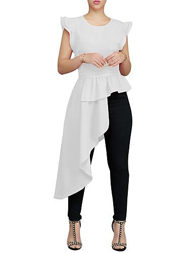 levne Dámské topy-Dámské - Jednobarevné Vintage / Elegantní Košile, Volány / Plisé / Patchwork Černá US0