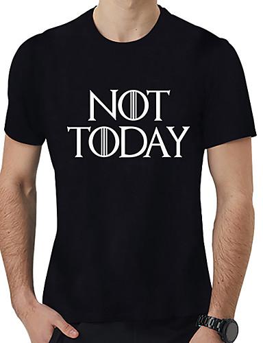 voordelige Heren T-shirts & tanktops-Heren Standaard / overdreven Print T-shirt Effen / Letter Zwart XXXXL