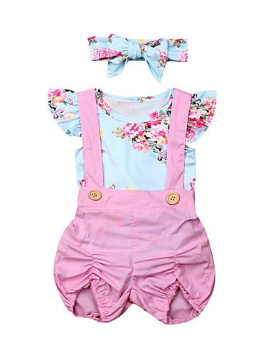 סט של בגדים כותנה שרוולים קצרים פפיון / שרוכים לכל האורך פרחוני פעיל / בסיסי בנות תִינוֹק / פעוטות