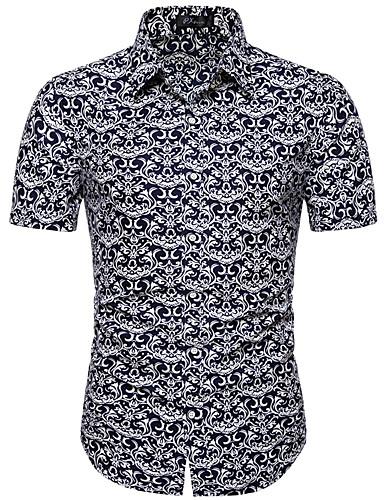 Erkek Dik Yaka Gömlek Desen, Solid / Geometrik / Grafik Siyah / Kısa Kollu