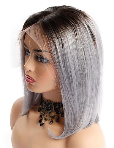povoljno Perike s ljudskom kosom-Ljudska kosa Lace Front Perika Bob frizura stil Brazilska kosa Ravan kroj Perika 130% Gustoća kose Žene Najbolja kvaliteta novi Novi Dolazak Rasprodaja Žene Kratko Wig Accessories Perike s ljudskom