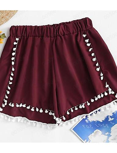 ราคาถูก กางเกงขาสั้น-สำหรับผู้หญิง พื้นฐาน กางเกงขาสั้น กางเกง - สีพื้น / ลายดอกไม้ สีน้ำเงิน สีเหลือง ไวน์ M L XL