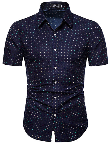 מנוקד צווארון קלאסי רזה סגנון רחוב מידות גדולות חולצה - בגדי ריקוד גברים כחול נייבי / שרוולים קצרים