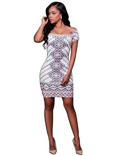 051617586 فستان نسائي ضيق كلاسيكي عصري ثوب ضيق أساسي أنيق طباعة فوق الركبة هندسي