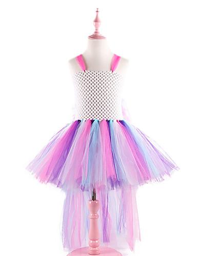 שמלה עד הברך ללא שרוולים רשת טלאים פעיל / סגנון חמוד בנות ילדים / פעוטות / כותנה