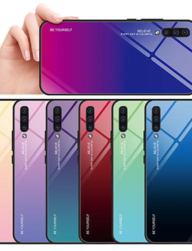 מגן עבור Samsung Galaxy Galaxy A7(2018) / A7 (2017) / A8 2018 מראה כיסוי אחורי צבע הדרגתי קשיח זכוכית משוריינת