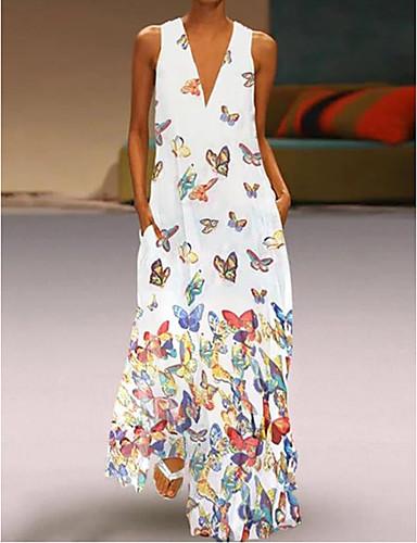 povoljno Haljine većih brojeva-Žene Veći konfekcijski brojevi Plaža Boho Slim A kroj Haljina Životinja V izrez Maxi
