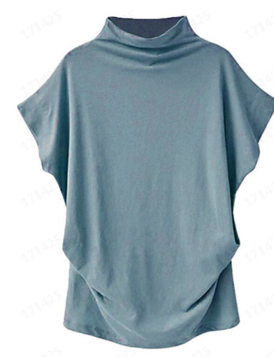 abordables Hauts pour Femme-Tee-shirt Femme, Couleur Pleine Mosaïque Chic de Rue Col de Chemise Rose Poudré Vert Véronèse