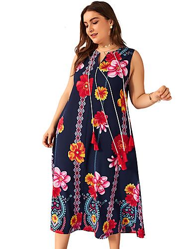 voordelige Grote maten jurken-Dames Standaard Street chic Schede Jurk - Bloemen, Print Midi