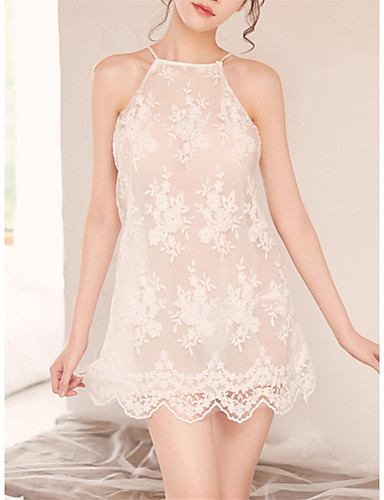 83a6256ef988 Women's Babydoll & Slips / Suits Nightwear - Backless / Cut Out Solid  Colored White L XL XXL