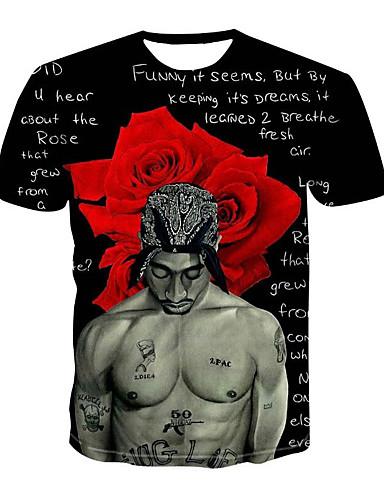 voordelige Heren T-shirts & tanktops-Heren Standaard / Street chic Print T-shirt Bloemen / 3D / Letter Ronde hals Zwart / Korte mouw