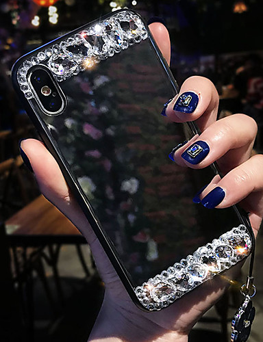 מגן עבור Apple iPhone XS / iPhone XR / iPhone XS Max עמיד בזעזועים / ריינסטון / מראה כיסוי אחורי תבנית גאומטרית רך סיליקון