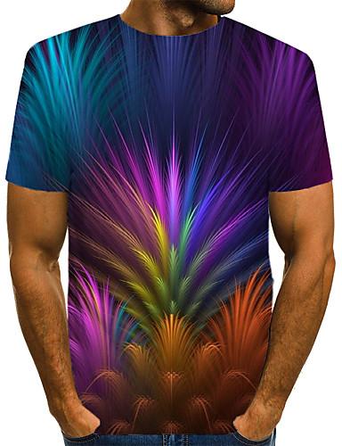 voordelige Heren T-shirts & tanktops-Heren Street chic / overdreven Print EU / VS maat - T-shirt Club Bloemen / Kleurenblok / 3D Ronde hals Regenboog / Korte mouw