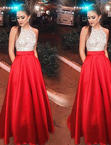 preiswerte Glänzende Kleider-A-Linie Halter Boden-Länge Satin / Pailletten Offener Rücken Abiball Kleid mit durch LAN TING Express