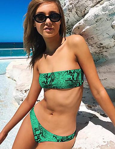 billige Dametopper-Dame Sporty Grunnleggende Grønn Rosa Gul Bandeau Cheeky Bikinikjole Badetøy - Kamuflasje Åpen rygg S M L Grønn