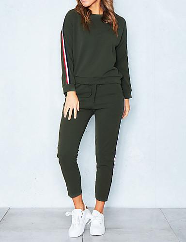 abordables Hauts pour Femmes-Femme Simple Coton Sweat à capuche - Couleur Pleine, Bandes Pantalon / Hiver / Look Sportif