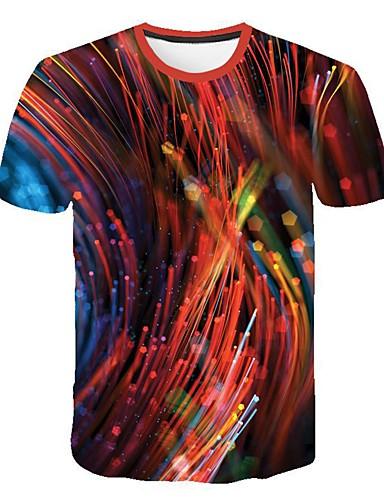גיאומטרי / 3D צווארון עגול רזה סגנון רחוב / פאנק & גותיות מידות גדולות טישרט - בגדי ריקוד גברים אודם / שרוולים קצרים