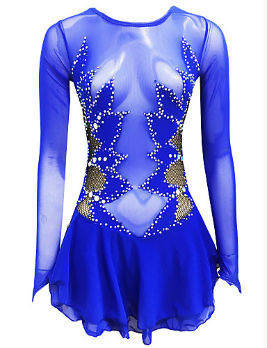 abordables Robe de Patinage-Robe de Patinage Artistique Femme Fille Patinage Robes Bleu royal Dos ouvert Spandex Haute élasticité Entraînement Compétition Tenue de Patinage Couleur Pleine Classique Cristal / Stras Manches