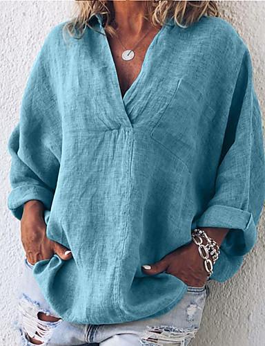 billige Dametopper-Oversized V-hals / Skjortekrage Store størrelser T-skjorte Dame - Ensfarget Gatemote / Elegant Ut på byen Fuksia
