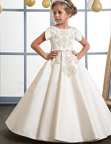 da55188d2e Princess Floor Length Flower Girl Dress - Cotton / Lace / Satin Short  Sleeve Jewel Neck with Bow(s) / Crystals / Embroidery by LAN TING Express