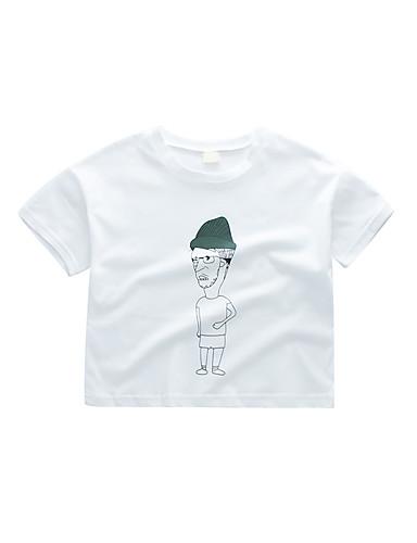טישירט כותנה שרוולים קצרים דפוס דפוס בסיסי / סגנון רחוב בנים ילדים