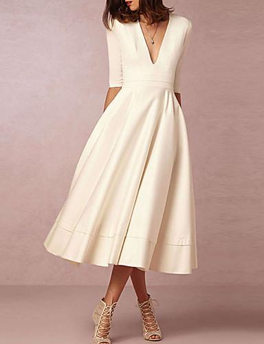abordables robe mariage civil-Trapèze Col en V Longueur Genou Mousseline de soie Robes de mariée sur mesure avec par LAN TING Express