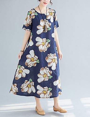 abordables Robes Femme-Femme Chic de Rue Au dessus du genou Courte Robe - Imprimé, Fleur Marguerite Bleu M L XL Manches Courtes