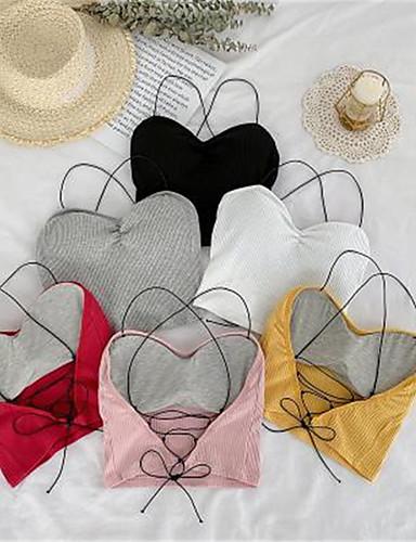 billige Dametopper-Tynn Med stropper Skjorte Dame - Fargeblokk, Blondér Grunnleggende / Elegant Rosa