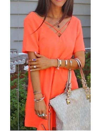 abordables Robes Femme-Femme Mi-long Tee Shirt Robe Couleur Pleine Col en V Orange S XL XXL Manches Courtes