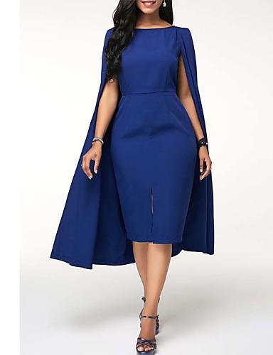 ab4a04c62ce abordables Vestidos de Talla Grande-Mujer Básico Vaina Vestido Un Color  Hasta la Rodilla
